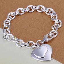 Fina del verano del estilo de plata chapada pulsera 925-sterling-silver joyería 2 heart chain pulseras para mujeres hombres SB279