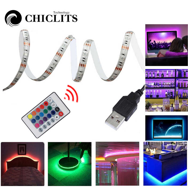 5 M taśmy LED RGB wodoodporna Tiras SMD5050 taśmy LED telewizor z dostępem do kanałów oświetlenie taśmy 5 V USB oświetlenie komputerowe 24 pilot z klawiszami