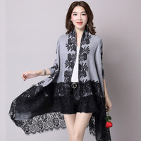 New Long Hem Lace Printing Irregular Oversized Sweater Shawl Women Overcoat Casual Knitted Cardigan Coat Lady