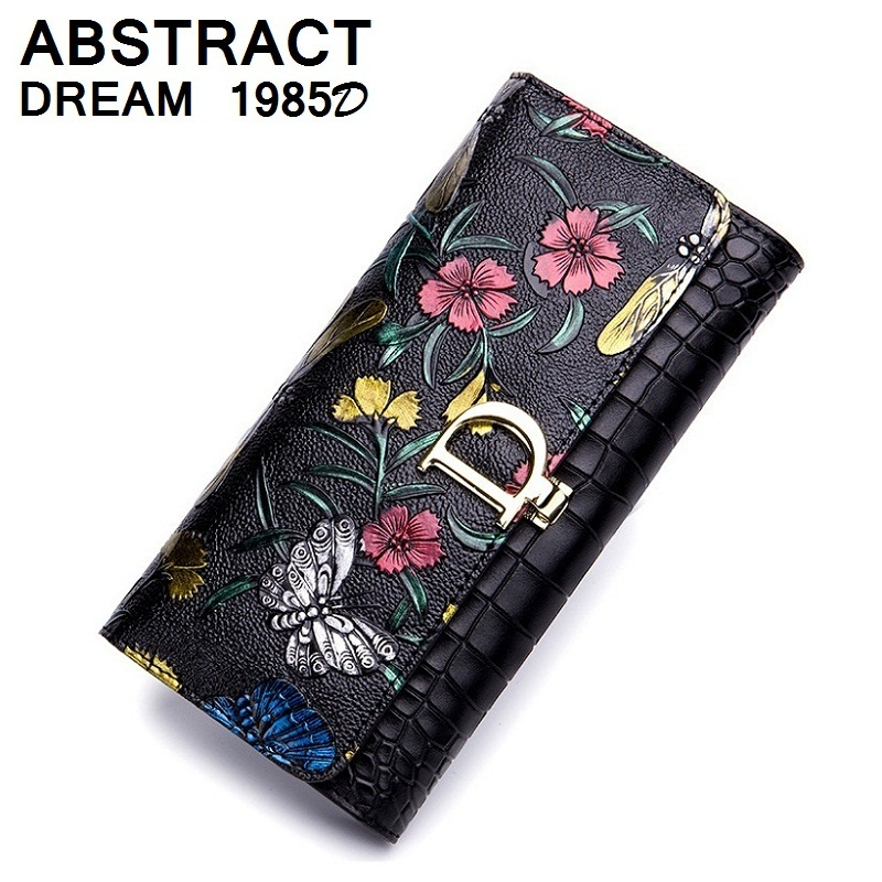 new Silver Rose women wallet Casual real leather wallet dragonfly classic bag 2019 fashion butterfly purse holders Ladies wallet