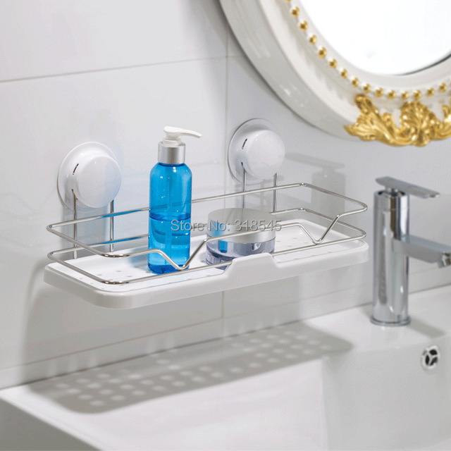 White Bathroom Shelf Suction Shelves Wall Mounted Tower Soap Shampoo ...