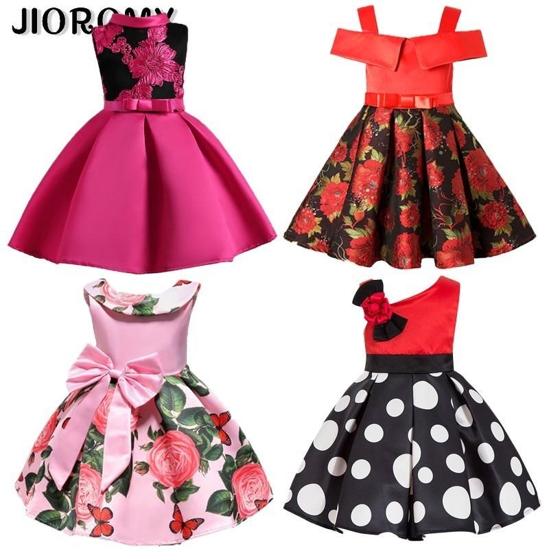 JIOROMY New Fashion Sequin Flower Dress Party Birthday Wedding Princess Toddler Baby Girls Clothes Children Kids Dresses