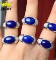 Человек Натуральный голубой Лазурит драгоценного камня кольцо реальная стерлингового серебра 925 Подлинная Ювелирные Изделия Мужчины и женщины Вообще кольца