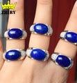 Homem Natural blue Lapis Lazuli gem anel de pedra real 925 sterling silver Genuine Jóias anéis Dos Homens e mulheres Em Geral