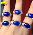 Man Natural blue Lapis Lazuli gem stone ring actual 925 sterling silver Genuine Jewelry Men and women General rings