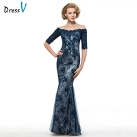 Dressv off the shoulder half sleeves trumpet mother of bride dress beading mermaid lace long mother evening gown custom