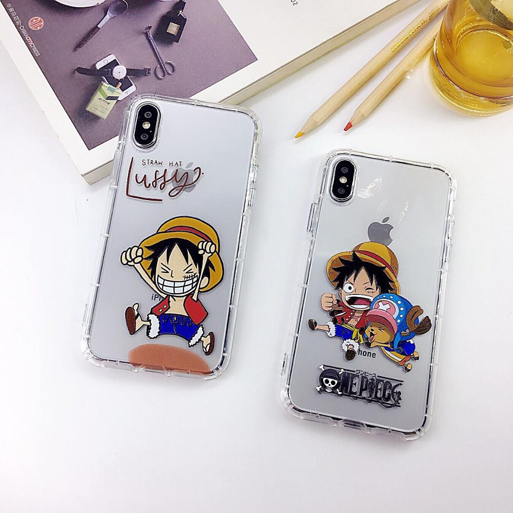 Cartoon ONE Piece Luffy Chopper Cute Phone Case Soft Cover For iPhone 6 6s 7 8 Plus X XS XR XSMax in Half wrapped Cases from Cellphones Telecommunications