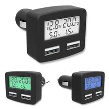 Универсальное автомобильное зарядное устройство 5 в 1, 3 А, 5 в постоянного тока, с двумя usb-портами, автомобильное зарядное устройство для телефона с индикатором напряжения тока и температуры