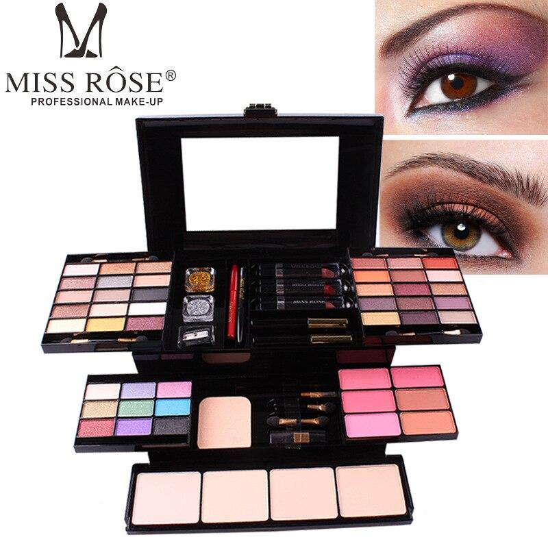 2019 New Makeup Set Box Professional Eyeshadow Lip Gloss Stick Foundation Blush Powder Makeup Kit Maquiagem MISS ROSE Cosmetics