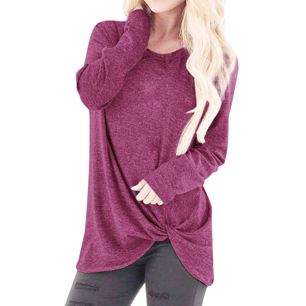blouse Women Loose Long Sleeve O-Neck Casual Solid Tee Shirt Blouse Tops womens tops and blouses blusas mujer de moda 2018 L2