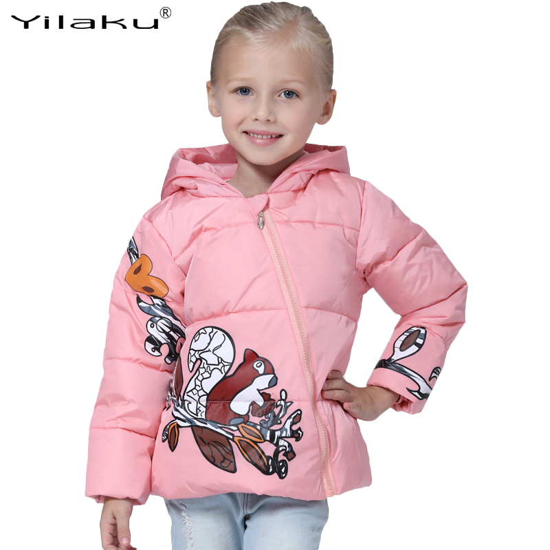 Girls Winter Coats Down Jackets for Girl Autumn Children Clothing Cotton Keep Warm Cartoon Animal Print with hat CG206 2017 new winter sytle children clothing fashion cartoon print girls down & parkas 1 6y hooded children jackets coats for girls