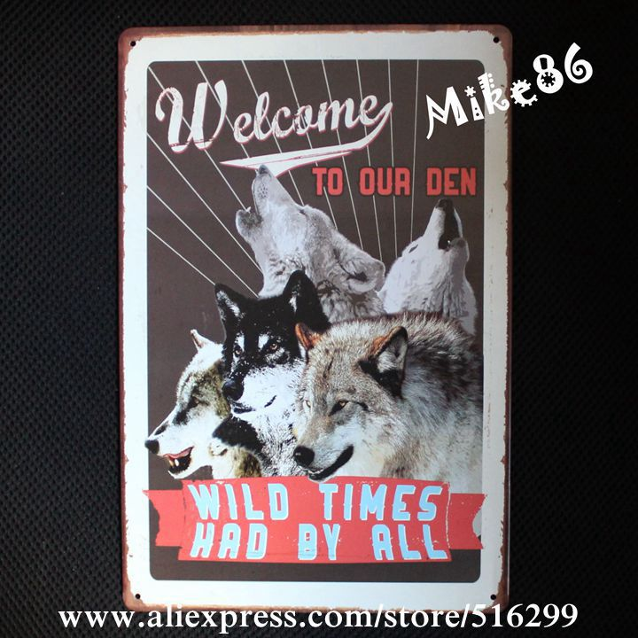 [ Mike86 ] WILD TIME WOLF TIN SIGN Retro Wall ART Bar Poster Vintage Craft Gift Decoration AA-213 Mix order 20*30 CM ...
