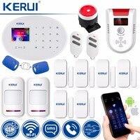 KERUI WI FI GSM W20 сенсорная клавиатура датчики движения Беспроводной сигнализации дома умная розетка RFID Card APP Управление охранной сигнализации С