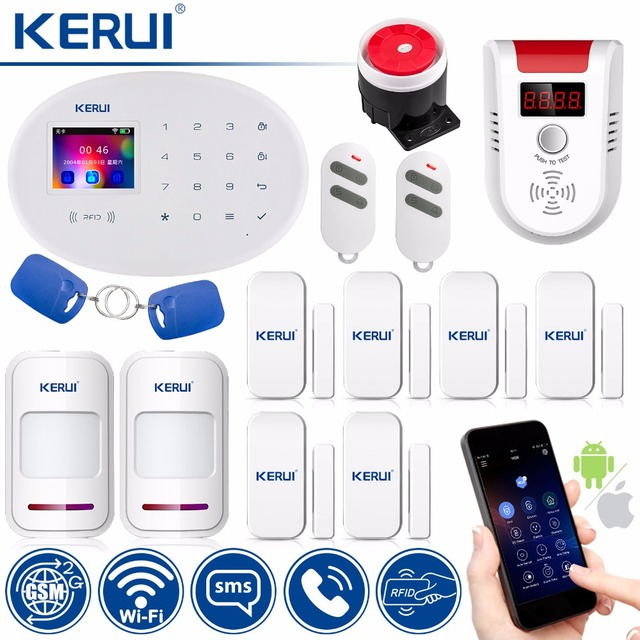 Best Price KERUI WIFI GSM W20 Touch Keyboard Motion Sensors Wireless Alarm Home Smart Socket RFID Card APP Control Security Alarm System