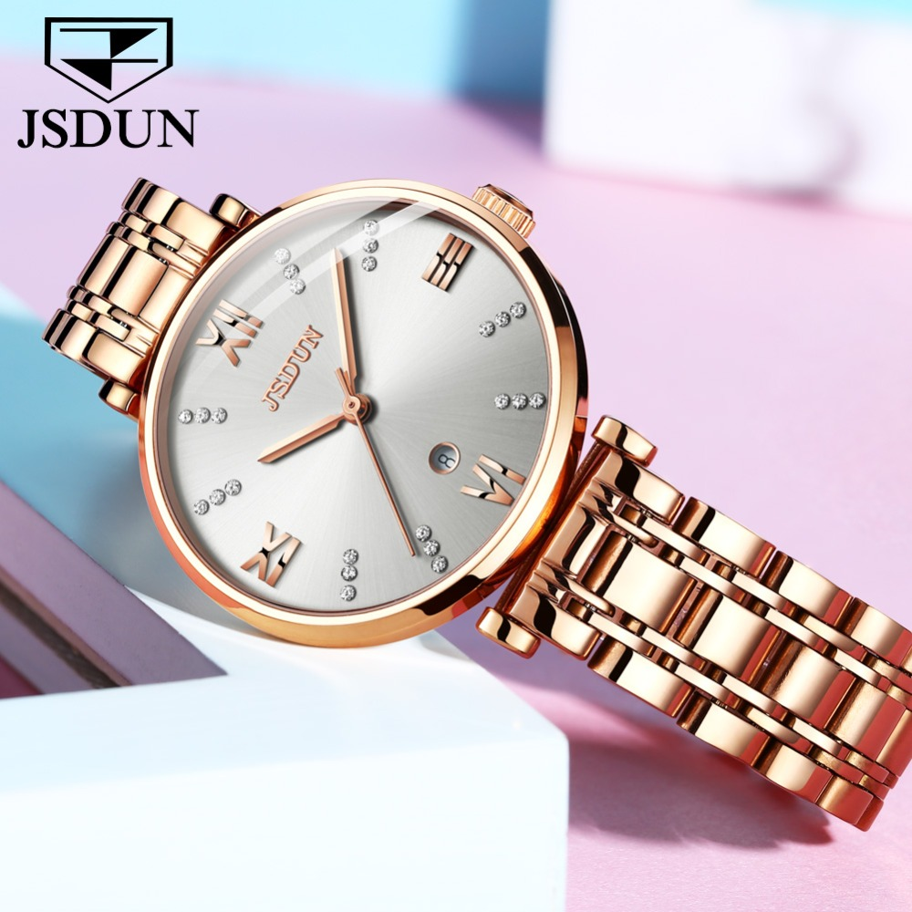 TOP Luxury Swiss Quartz Watches For Women White Lady Watch With Date Rose Gold Stainless Steel zegarek damski bayan kol saati simple style mesh steel women watches top brand luxury rose gold black ladies quartz hours woman dress watch bayan kol saati
