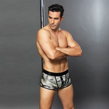 Mens interesting underwear. Sexy camouflage flat-angle Uniform code. lingerie.