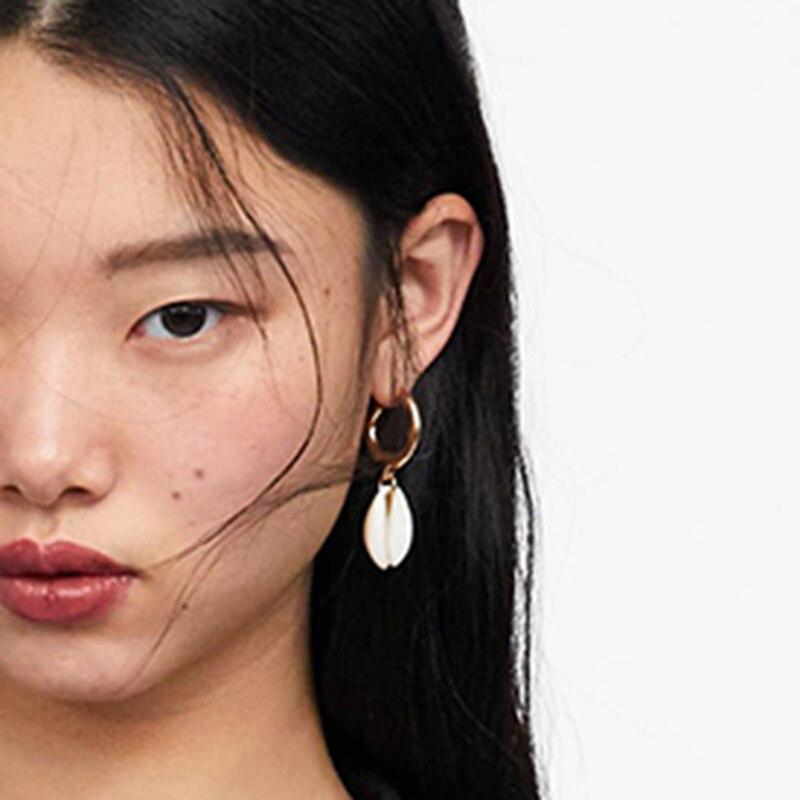 AENSOA Elegant Shell Alloy Drop Earrings ZA Cute Chic Statement Dangle Earrings for Women Wedding Party Gifts Irregular Jewelry 8