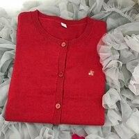 2018 Nueva Primavera y de Invierno 4 de Color Rojo Amarillo Azul Rosado Cereza Cardigan Abrigo de Lana Para El Bebé