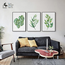 CREATE&RECREATE Nordic Poster Green Leaves Posters And Prints Wall Art Canvas Painting for Home Decoration Pictures CR1810110035