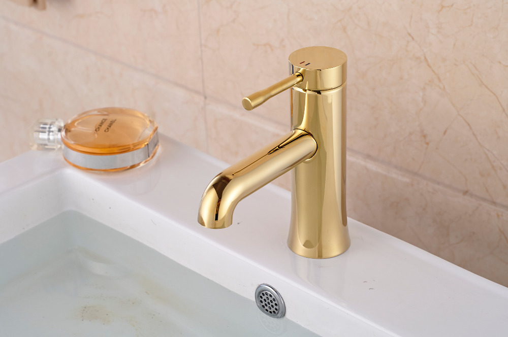 Modern Golden Brass Bathroom Basin Faucet Deck Mounted Vanity Sink Mixer Tap Single Handle Hole цена