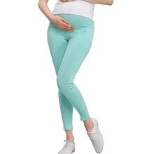 Легинсы для беременных; однотонные хлопковые брюки; женская одежда с высокой талией и регулируемым поясом; Модальные Брюки для беременных; сезон весна-осень