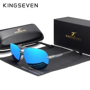 Image 4 - KINGSEVEN מותג עיצוב חדש מקוטב משקפי שמש ללא מסגרת גברים נשים נהיגה טייס מסגרת שמש משקפיים זכר Goggle UV400 Gafas דה סול