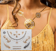 Body art painting tattoo stickers glitter Metal gold silver Necklace temporary flash tattoos Disposable indians tatoo