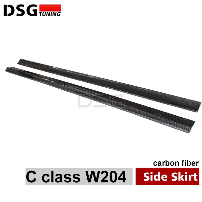 Mercedes W204 C63 Carbon Fiber Side Skirt Bumper Lip For Benc C Class C63 2012 - 2014 стоимость