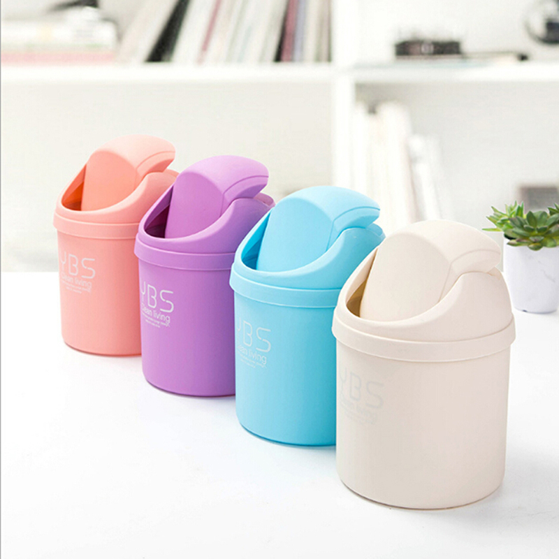 1PC Office Mini Desktop Storage Box Waste Container Desktop Cleaning Barrel Small Desk Organizer Storage Dustbins