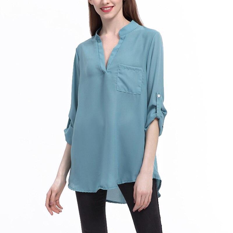 Fashion Women V-neck Chiffon Blouse Loose Casual Long Sleeve Irregular Long Blouses Tops Plus Size 5XL JL