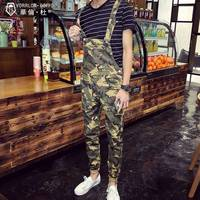 Mens Slim Overalls Fashion Light Weight Washed Camouflage Print Chinos Bib Pants Jumpsuits Male 2017 Summer