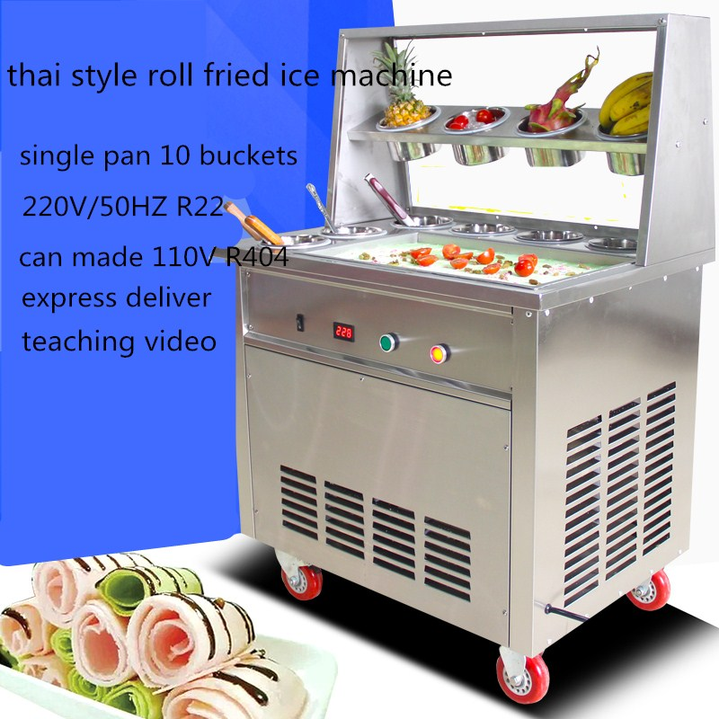 2017 thai style roll fried ice cream machine,single pan fried ice /yoghourt machine,freezing ice cream roll with 10 buckets 2017 ce approved thai style fried ice cream roll machine single pan fry ice machine fast cooling ice pan machine with dust cover