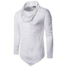 Lasperal мужские рваные ночной клуб водолазка с длинными рукавами футболка хип-хоп Harajuku Повседневная футболки SWAG одежда