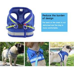 Image 2 - Köpek koşum tasma yaz Pet ayarlanabilir yansıtıcı yelek yürüyüş kurşun köpek Polyester örgü koşum küçük orta köpek için
