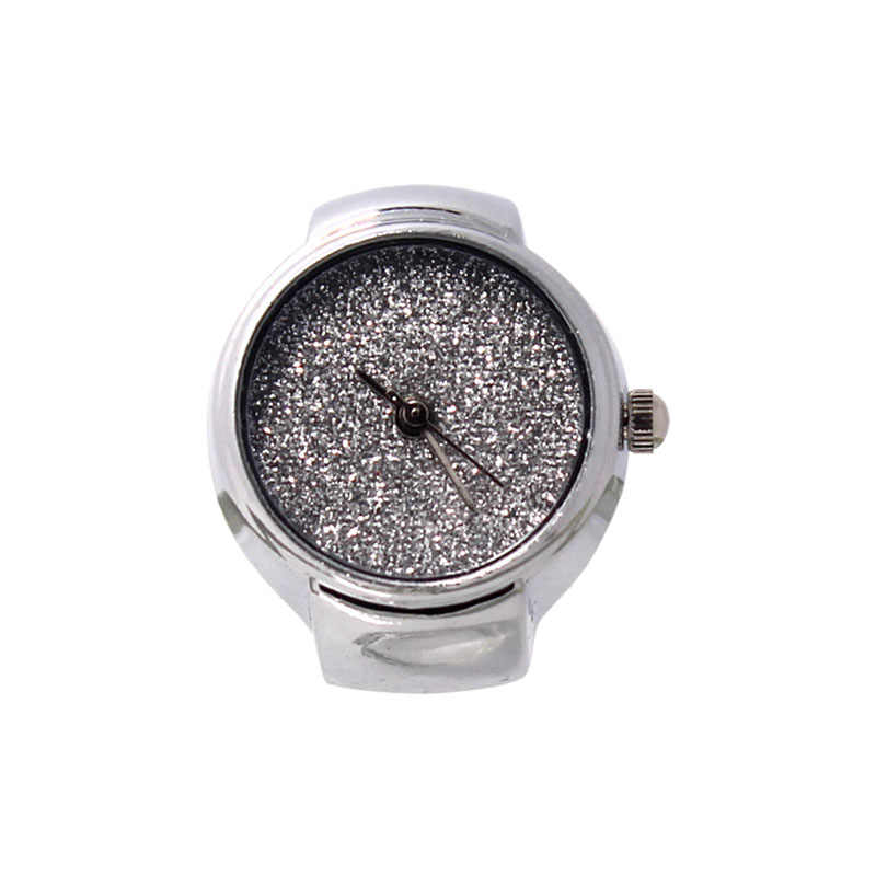 Fashion Unisex Steel Round Elastic Quartz Finger Ring Watch Shine Dial Ring Watches Jewelry Gifts High Quality LL@17