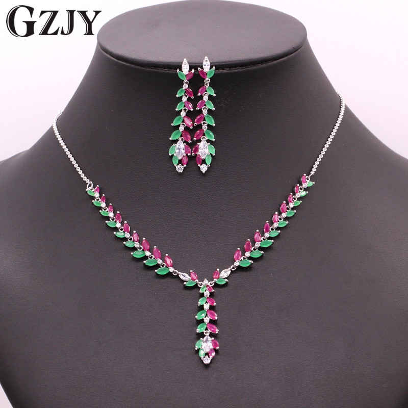 GZJY Fashion White Gold Color Red&Green Zircon Bridal Necklace Earrings Jewelry Set For Women Wedding Engagement Party Jewelry orange morganite stylish jewelry set for women white zircon gold color rings earrings necklace pendant bracelets