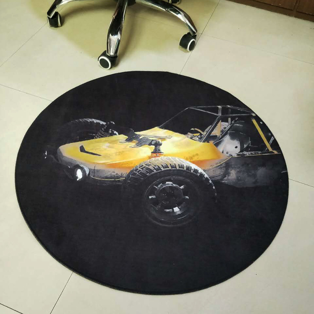 Round 80cm Flannel Soft Anti-slip Chair Mats Boys Room Theme Decoratinon Carpet Bedside Living Room Black Area Rugs for Kid Room