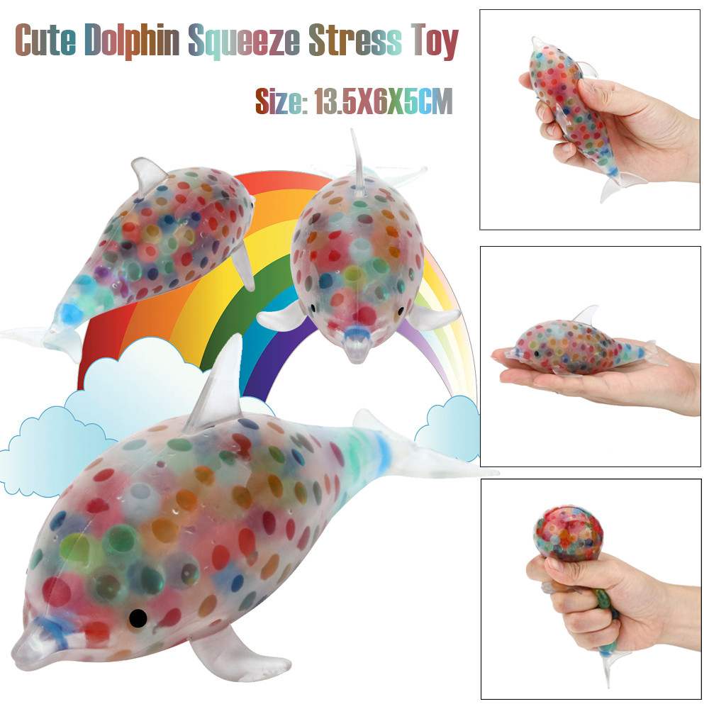 2018 Kids Spongy Dolphin Bead Stress Ball Toy Squeezable Stress Toy Cute Gift Exquisite Fun Relief Ball Stretchy Squeeze Toy novelty 8cm bead stress ball sticky squeeze frogs stress relief squeeze toy stress relief cute squishy toy drop shipping