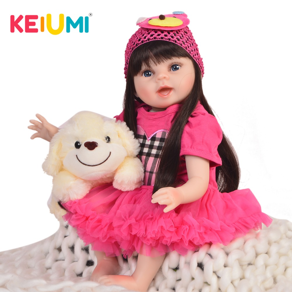 KEIUMI 22'' Realistic Princess Baby Dolls Newborn Soft Silicone Vinyl Reborn Baby Girl Doll Toys 55 cm Kids Birthday XMAS Gifts fashion 40 cm american girl dolls soft vinyl princess doll lifelike silicone reborn baby dolls cheap birthday gifts for children