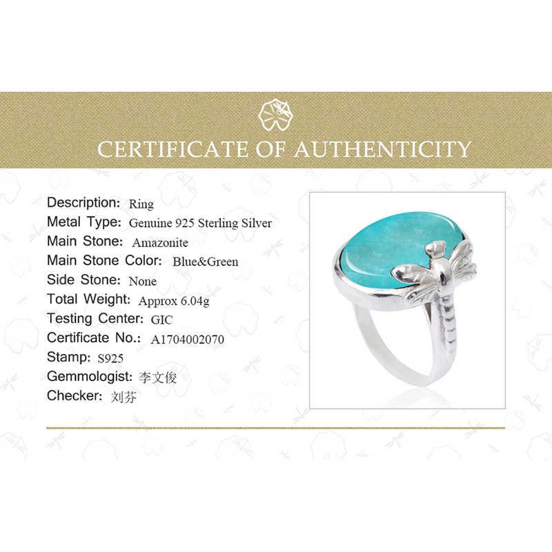 Lotus สนุกจริง 925 เงินสเตอร์ลิงหินธรรมชาติ Amazonite Creative Handmade Designer เครื่องประดับ VINTAGE หญิงแหวน Bijoux