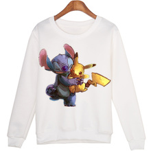 Winter Students Cartoon Stitch Moleton Hoodies Tops Harajuku Sweatshirt Women Sudaderas Mujer 2015 WMH39
