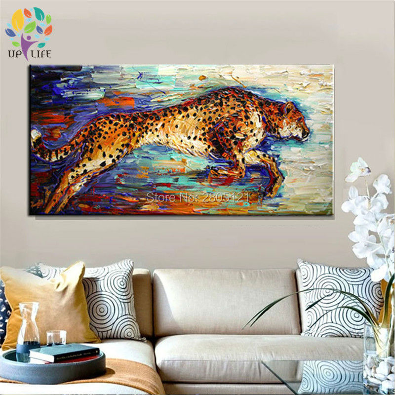 hand painted canvas picture running Hunting Cheetah canvas art oil - Home Decor - Photo 2