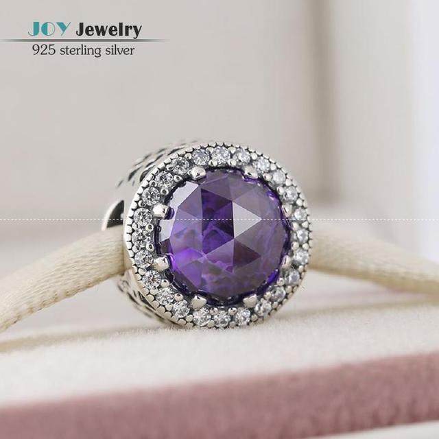 2016 New Royal Purple Crystal Radiante Corações Charme Beads 925 Prata esterlina CZ Coração Bead Serve Estilo Marca de Jóias Diy BD269