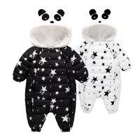 Zima Baby Pajacyki Kombinezony Odzież Kombinezon 3-24Mouth Panda Noworodka Dziewczynka Chłopiec Kaczki Dół Snowsuit Dzieci niemowląt Zużycie Śnieg onepiece