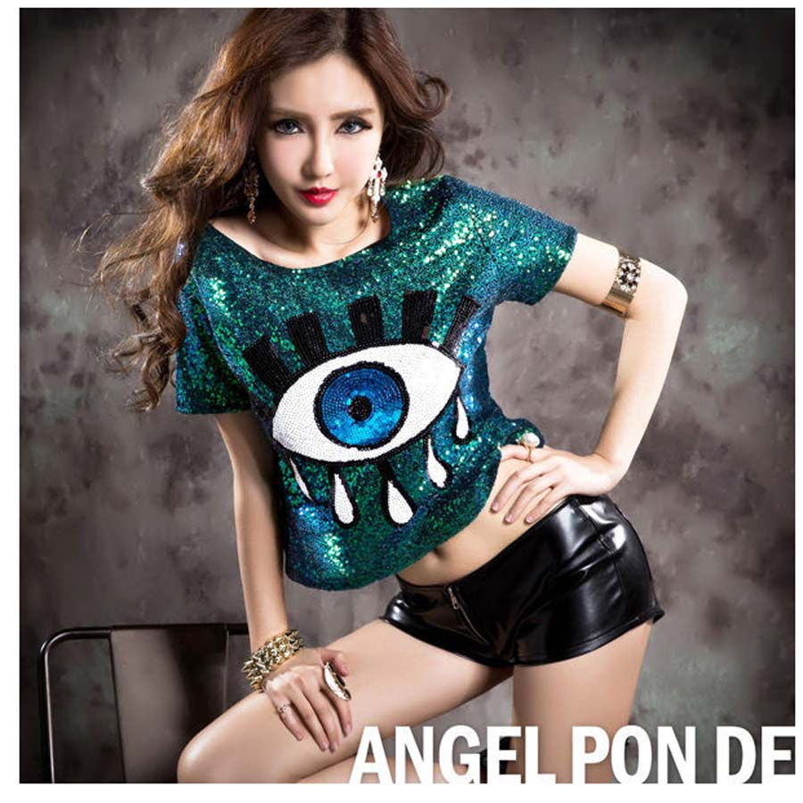 Women Stage Performance Short Tops Big Eye Sequined Sexy -6259