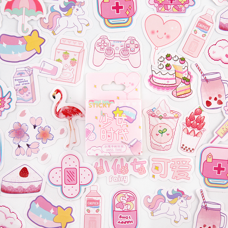 46pcs/1pack  Kawaii Stationery Stickers Girls' Age Diary Planner Decorative Mobile Stickers Scrapbooking DIY Craft Stickers
