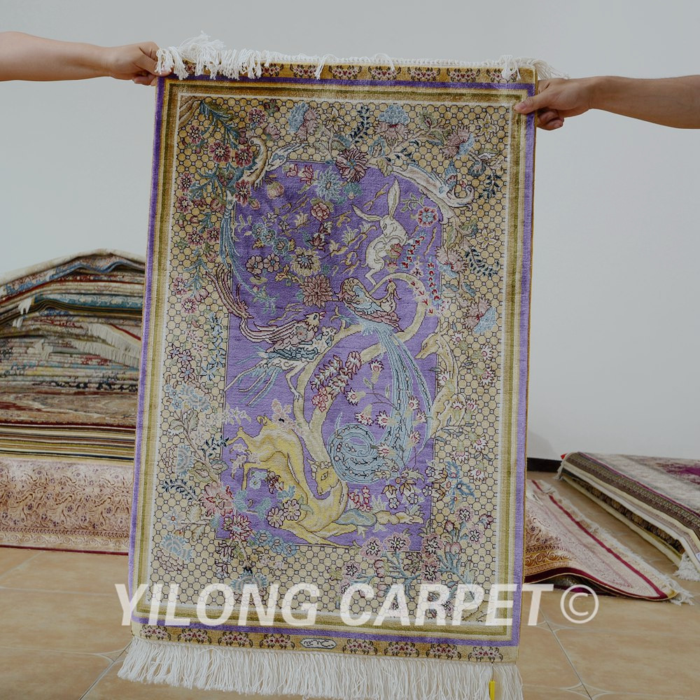 Yilong 2x3 Turkish silk carpet purple tapestry handmade exquisite tapestry rugs (0416)Yilong 2x3 Turkish silk carpet purple tapestry handmade exquisite tapestry rugs (0416)