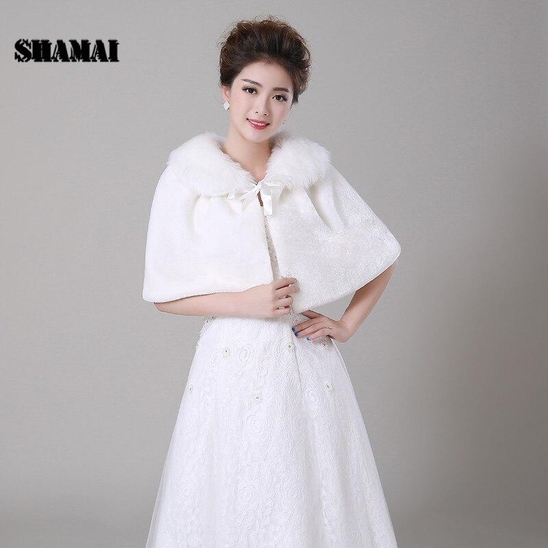 SHAMAI Fashion Solid Color Lvory Warm Faux Fur Autumn Winter Women Wedding Cape Bolero Bridal Wraps Wedding Party Faux Fur Shawl