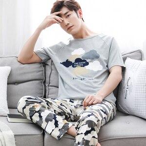 Image 5 - ฤดูร้อนผู้ชายชุดนอนแขนสั้นผ้าฝ้าย 100% สบายๆพิมพ์ชุดนอนชุดนอนชุด PLUS ขนาด 3XL Homewear ชุดชั้นในชุดนอน