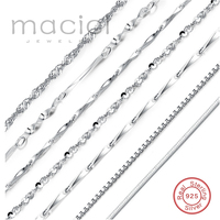 New Elegant Chain 925 Solid Sterling Silver Chain Necklace ON SALE 40 Cm 45 Cm 2016
